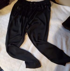 Shiny Black Parachute type Pants